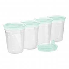 4 стакана с крышкой +крышка- поильник.  200 мл (ментол)