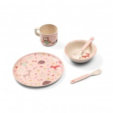 Бамбуковая посуда для детей FOREST PINK!