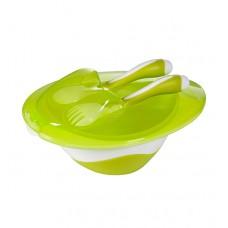 Мисочка с ложкой и вилкой - зелёная